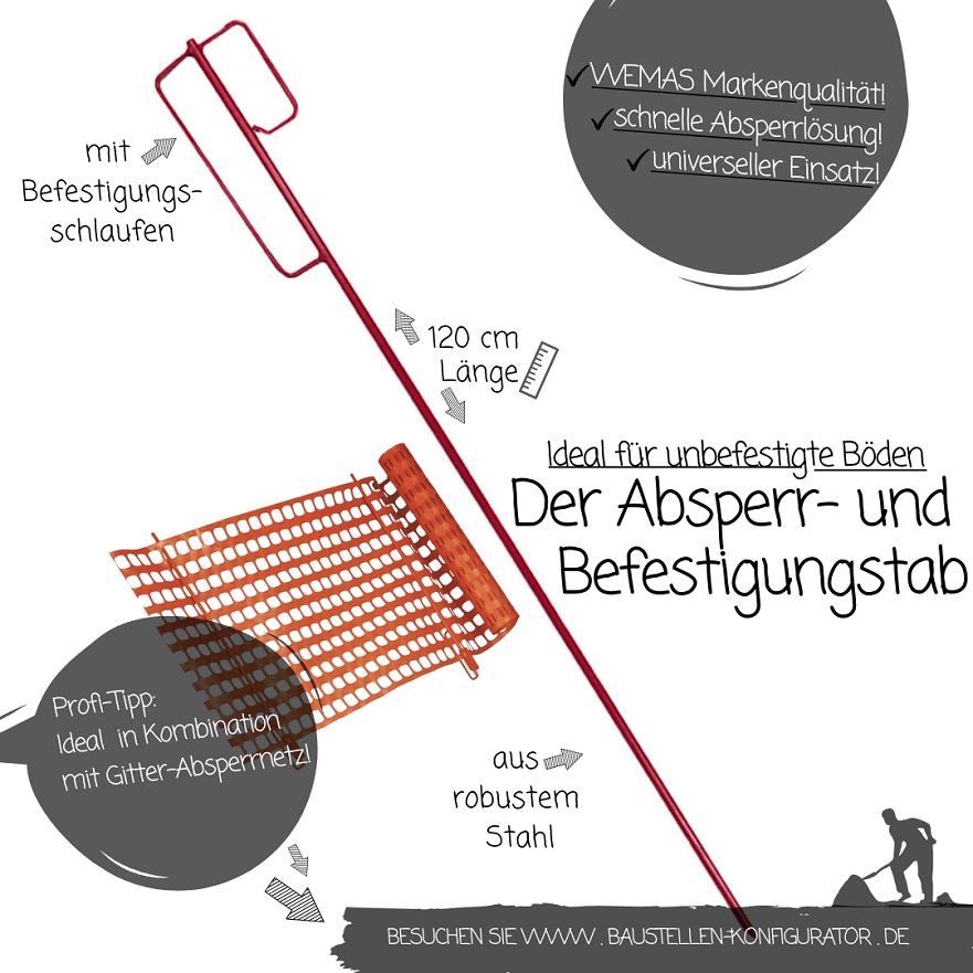 Absperr- und Befestigungsstab mit Gitter-Absperrnetz