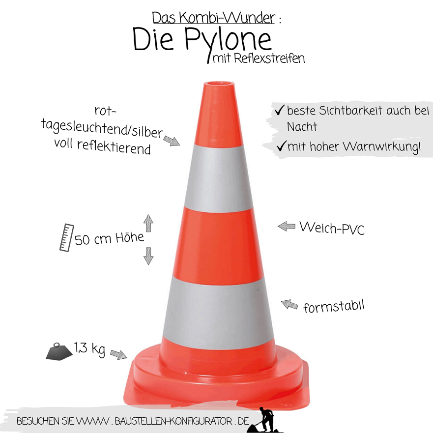 Das Kombi-Wunder Die Pylone mit Reflexstreifen