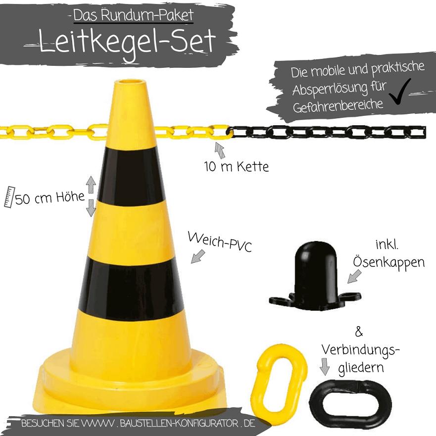 Das Rundum-Paket Leitkegel-Set gelb-schwarz
